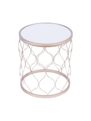 Mesa Spark Redonda Lateral Metal Dourada Or Design 1409