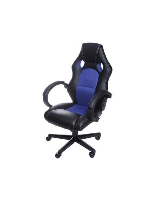 Cadeira Gamer Preta E Azul Em Couro Ecológico Or 3316
