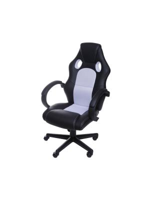 Cadeira Gamer Preta E Branca Em Couro Ecológico Or 3316