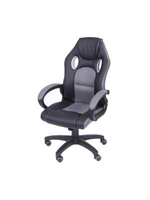 Cadeira Gamer Preta E Cinza Em Couro Ecológico Or 3316