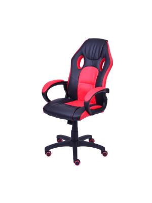 Cadeira Gamer Preta E Vermelha Em Couro Ecológico Or 3316