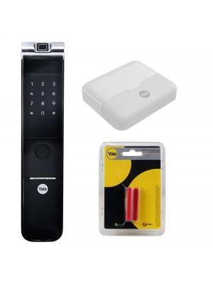 KIT Fechadura Digital Ymf 40a Rl Abre Com Biometria E Senha Yale + HUB + Zigbee YM