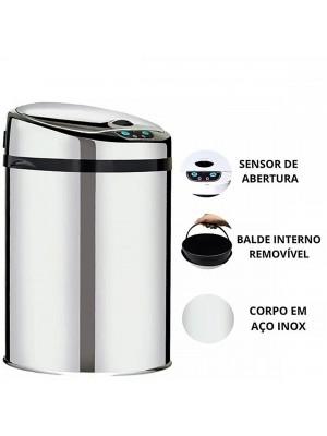 Lixeira Automática Inox 9 Litros Premium Sensor Banheiro Kzi