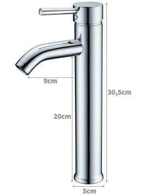 Torneira Misturador Monocomando Banheiro Alta Redonda 6007b