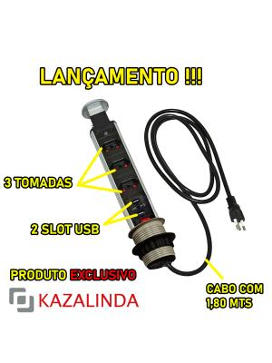 Torre Multiplug Retrátil Com 3 Tomadas e 2 USB  Embutir - Kzi