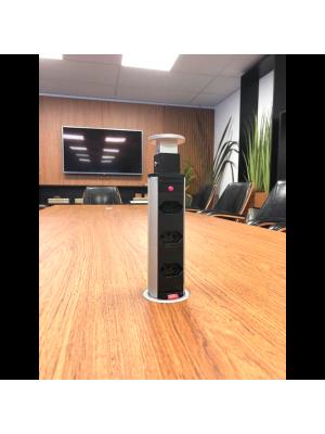 Torre Multiplug Retrátil Com 3 Tomadas  Embutir - Kzi