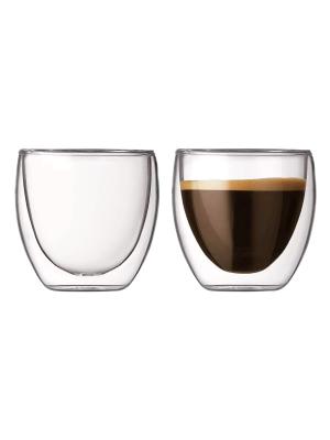 Jogo De 2 Copos De Café Parede Dupla D Vidro 80ml Xicara Kzi