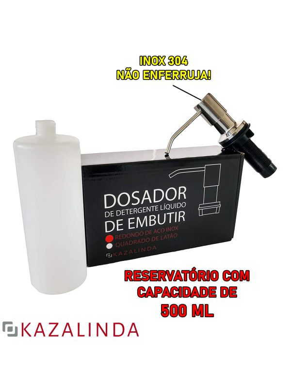 Porta Dosador De Detergente Sabonete Sabão Líquido Embutir Bancada Pia Redondo Inox Escovado 304