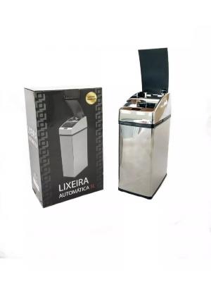 Lixeira Automática Com Sensor Inox Polido 3 Lts Litros Quadrada