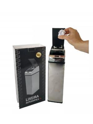 Lixeira Automática Com Sensor Inox Polido 6 Lts Litros Quadrada