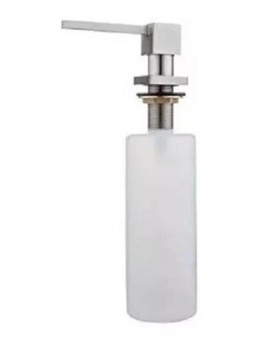 Porta Dosador De Detergente Sabonete Sabão Líquido Embutir Bancada Pia Quadrado Cromado