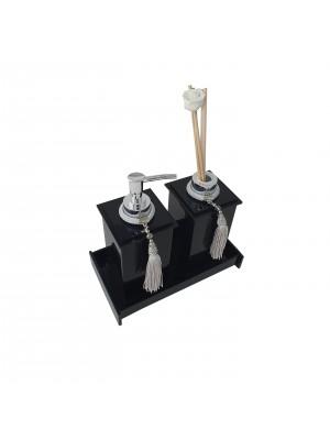 Kit Potes Em Acrílico Para Banheiro 3 Pçs Luxo K15pt1 Preto