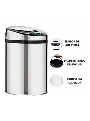 Lixeira Automática Inox 42 Lts Premium Sensor Banheiro Kzi