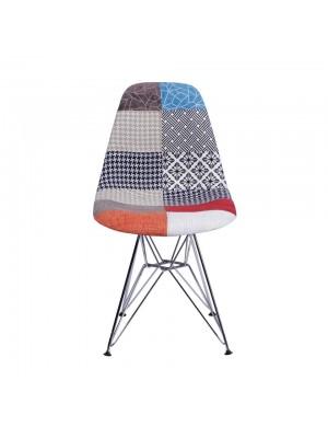 Cadeira Tecido Mix Patch Work Base Metal Or Design 1102
