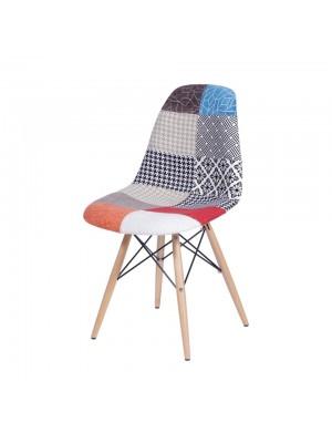 Cadeira Tecido Mix Patch Work Base Madeira Or Design 1102 B