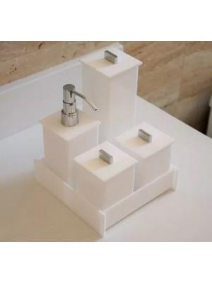 Kit Potes Em Acrílico Para Banheiro - Branco - Linha Inovar