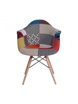 Cadeira Com Braço Mix Patch Work Base Madeira Or Design 1120