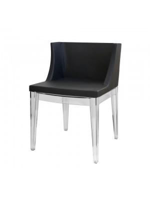 Cadeira Couro Base Policarbonato Ou Madeira Or Design 1136