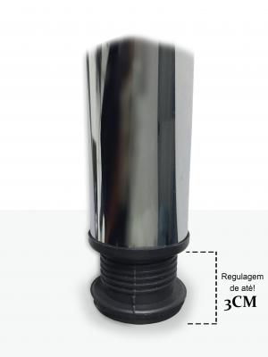 Pé De Mesa Távola Com Regulagem Aço Cromado 6x110cm