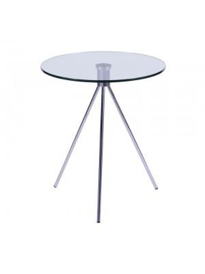 Mesa Cromada Com Vidro Lateral Tripé Or Design 1444