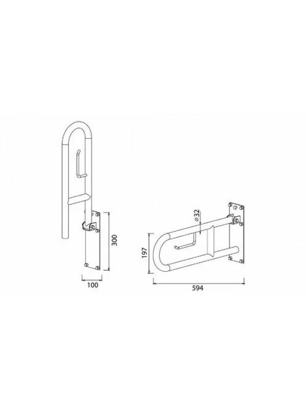 Alca Barra De Apoio Em Inox Articulada Com Porta Papel 60cm