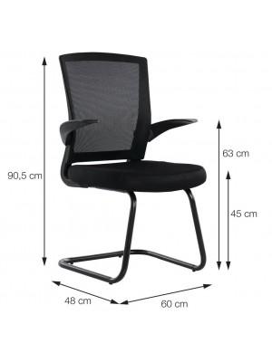 Cadeira Escritório Tecido Or Design 3314 Fixa Baixa Preta