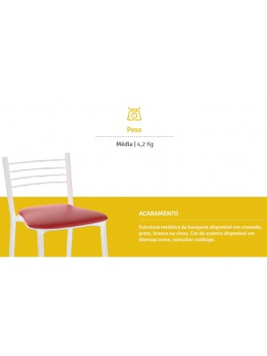 Banqueta Cozinha Cromada Milano Média 60cm - Flape - 1 Unidade