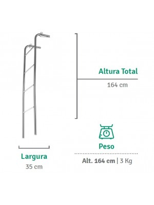 Escada Para Beliche Em Aço Cromado 1,64m - Flape