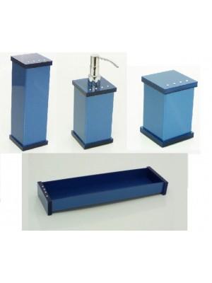 Kit Potes P/ Banheiro Acrílico C/ Strass Bandeja Retangular - Azul