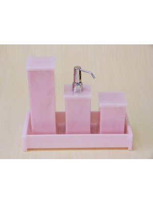 Kit Potes P/ Banheiro Acrílico C/ Strass Bandeja Retangular - Rosa
