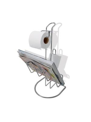 Papeleira De Chão Com Revista Aço Cromado Banheiro Duler 877