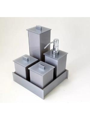 Kit Potes Em Acrilico Para Banheiro 05 Pecas Metalli - Cinza