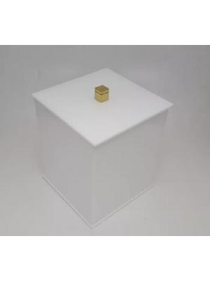 Lixeira Banheiro Acrílico Quadrada Branca Puxador Dourado