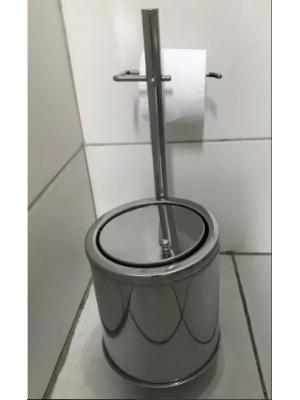 Papeleira Porta Papel Higiênico De Chão Com Lixeira Inox